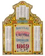 ALMANACH-  CHROMO Nouveau  CALENDRIER A EFFEILLIER  1869  , Second Emprire Napoléon III - Calendriers