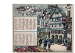 ALMANACH-CALENDRIER PETIT ROUENNAIS 1885  LITHOGRAPHIE Allégorie Pompier Emprire Napoléon III  Edit  à ROUEN - Calendriers
