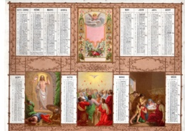ALMANACH-CALENDRIER- Allégorie Paques, Pentecote Noel 1873 CHROMO Religion Emprire Napoléon III  Edit DUBOIS-TRIANON Imp - Calendriers