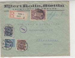 Fa. R-Brief Mit Div. Marken Aus STETTIN 18.2.23 Nach Kopenhagen / Zensur Durch Postüberwachungsstelle - Deutschland