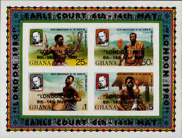 GHANA 1980 Sir Rowland Hill OVPT London Music Drums IMPERF.sheetlet (4 Stamps) - Rowland Hill