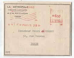 EMA 4FR50 C.0732 PARIS 22 14.1.1947 LETTRE - Poststempel (Briefe)