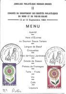 JUMELAGE PHILATELIQUE ROUBAIX BRUGES 12 Sept 1964 Sur Menu Du Congrès Philatélique Nord Pas De Calais Blason Roubaix - Cachets Commémoratifs