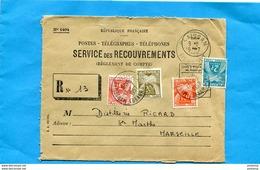 """Marcophilie-lettreTaxée """"service Recouvrement  Mod N°  1494"""" Cad Plaisant -hérault  1957-4 Timbres Taxe Gerbes=35 Frs - Marcofilie (Brieven)"""