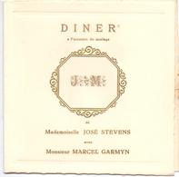 Menu - Diner  Mariage Huwelijk - José Stevens X Marcel Garmyn - Menus