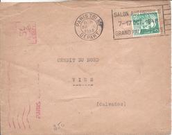 EMA PARIS Machine A + Timbre 4F GANDON FLamme Paris Tri N°1 30 Sept 1948 Salon Automobile 1948 Grand Palais DEVANT SEUL - Marcophilie (Lettres)