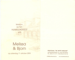 Menu - Huwelijk Mariage - Melissa X Bjorn - 2003 - Feestzaal De Witte Meulne Moorsele - Menus