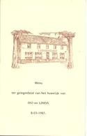 Menu - Huwelijk Mariage - Ivo X Linda - 1987 - Menus