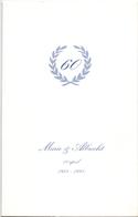 Menu - Huwelijksverjaardag 60 Jaar - Marie X Albrecht - Feestzaal Ruytershove - 1938 - 1998 - Menus