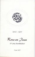 Menu - Huwelijksverjaardag 25 Jaar Rosa X Jean - Zaal Raffeisenkas Te Heers 1977 - Menus