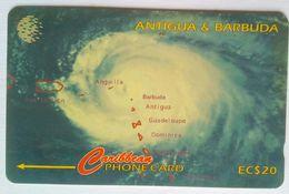 54CATF Hurricane  Luis EC$20  Slash C/n - Antigua En Barbuda