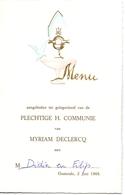 Menu - Communie Communion Myriam Declercq - Oostende 1968 - Menus