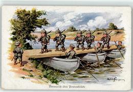 52923545 - Sign. Hoffmann Ad. Kind In Uniform Vormarsch Ueber Pontonbruecke - War 1914-18