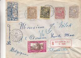 Nouvelle Caledonie - Lettre Recom De 1936 - Oblit Noumea - Exp Vers Bruxelles - Bateaux - Piroges - Palmiers - Briefe U. Dokumente