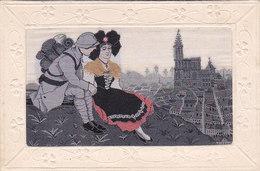 Alsace Militaire Et Alsacienne Carte Brodée Soie Tissée 1914-1918 éditeur B G - Oorlog 1914-18