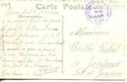 N°69615 -cachet Centre D'instruction De Mitrailleurs -franchise Postale Militaire Le Havre- - Marcophilie (Lettres)