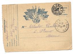 Correspondance Militaire  Franchise  Trésor Et Postes 113   2 Scans ...G - Guerre 1914-18
