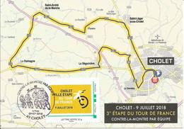 Tour De France - CHOLET - 9 Juillet 2018- Contre La Montre Par équipe - Cachets Commémoratifs