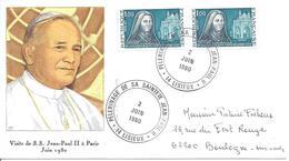 PELERINAGE DU PAPE JEAN PAUL II LISIEUX 2 Juin 1980 Religion Timbre Sainte Thérèse X2 - Christianisme