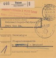"Paketkarte En Franchise Obl TUTOW Du 6.4.43 Adressée à Strasbourg Neudorf + Nachgebühr ""50"" - Paketmarken"