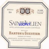 """ETIQUETTE  """"  SAINT JULIEN - BARTON & GUESTIER """" - Labels"""