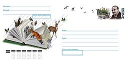 Russia 2019 Postal Stationery Cover 125th Ann  Writer Vitaly Bianki Tit Woodpecker Birds Fox Deer Bird Pic Oiseaux - Ecrivains