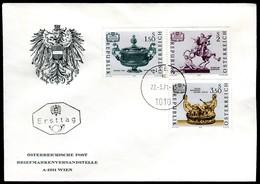 07434) Österreich - Mi 1355 / 1357 - ANK 1385 / 1387 - FDC - Kunstschätze - FDC