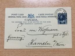 FL3604 Canada Stationery Entier Postal Ganzsache Psc Moose-Jaw & Calgary R.P.O. Railway PO To Hameln Scarce!!!! - 1903-1954 Könige