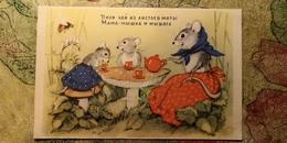 """MICE DRINKING TEA"" - OLD USSR PC 1954 - BEE - Mushroom - Champignon - Mouse - Champignons"