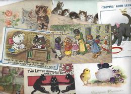 Lot 1589 De 10 CPA Chat Chats Cat Katze Déstockage Pour Revendeurs Ou Collectionneurs - Cartoline