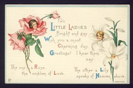 Flower Face Children Girl Girls ~ Pink Rose ROSE, White Lily LILY - Two Little Ladies ... James E. Pitts A/s - Pasqua