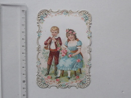 CHROMO DECOUPIS: ENFANT Musicien Fillette Demoiselle Garçonnet Flute Fleur... - Enfants