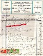 BELGIQUE- QUAREGNON- FACTURE HENRI DONCQ- MATOT- ISAAC-PEINTRE-PEINTURE TAPISSERIE- GRAND ' PLACE 1921 - Old Professions