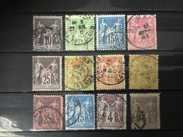 FRANCE  YT 87.88.89.90.91.92.94.96.97.98.101.108. Sage  Oblitéré° .1877/1898. Côte 55.00 € - France