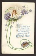 Flower Face Girl - Lily Violets Rabbit Easter - Tide - Embossed 1916 - Pasqua
