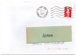 LOIRE ATLANTIQUE  - Dépt N° 44 = DERVAL 1992 =  FLAMME Codée à DROITE = SECAP Muette '5 Lignes Ondulées' - Postmark Collection (Covers)