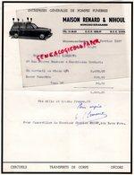 BELGIQUE- MONCEAU SUR SAMBRE- RARE FACTURE MAISON RENARD & NIHOUL-POMPES FUNEBRES CORBILLARD-1957 - Old Professions