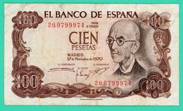 100 Pesetas - Espagne - 17/11/1970 - N° 2Q0799974 - TB+ - - 100 Pesetas