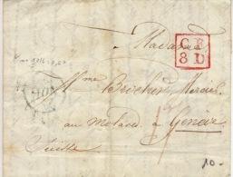 Suisse- Genève - Lettre Avec Coresspondance - CF 8D Rouge -1831 - ...-1845 Prephilately