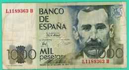 1000 Pesetas - Espagne -  23/10/1979 - N° L1189363B - TB+ - - [ 4] 1975-… : Juan Carlos I