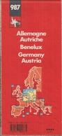 ALLEMAGNE- AUTRICHE - BENELUX  CARTE ROUTIÈRE MICHELIN N° 987 (1/000.000ème) - Cartes Routières