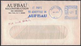 "AE223   USA 1972 Cover ""It Pays To Advertise In Aufbau"" Meter Slogan Pmk  New York - Storia Postale"