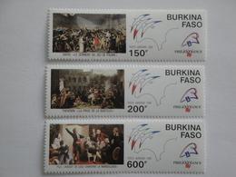 1989 Burkina Faso Yv PA 322/4 ** MNH Révolution Française Cote 12.00 € Michel 1206/8  SG 970/2 French Revolution - Burkina Faso (1984-...)