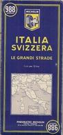 ITALIE - SUISSE - GRANDES ROUTES -  CARTE ROUTIÈRE MICHELIN N° 988 (1/000.000ème) - Cartes Routières