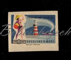 D244 CZECHOSLOVAKIA 1964 Saving Statni Sporitelna State Saving Bank Vacation At Sea Women  In Swimsuit And Lighthouse - Zündholzschachteletiketten