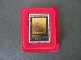 """BHUTAN, Année 1996, """"The Penny Black"""" Noir Et Or Fin 22 Carats, Neuf **,  Dans étui Velours Rouge, Très Beau, Form 23x39 - Bhoutan"""