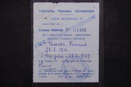 SPORT - Licence Fédérale De L 'Aéro Club Du Roussillon En 1959 - L 21880 - Deportes