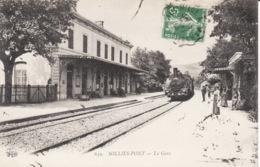 83 Solliès - Pont, Gare, Train Vapeur, 1914,  2 Scans - Sollies Pont