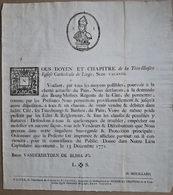 Ordonnance Relative à La Vente Du Pain à Liège En 1771 - Décrets & Lois