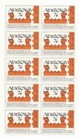 VIGNETTE GOMMEE JUVAROUEN 1976 ORANGE  BLOC DE 10  COTE  30 EUROS - Expositions Philatéliques